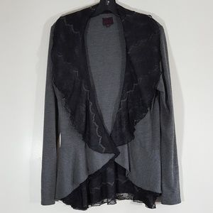 Color Works Gray & Black Lace Open Front Tunic Top